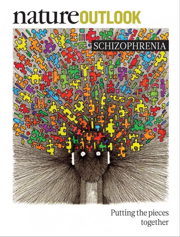학술지 '네이처' 2014년 4월 3일자는 정신분열증의 최신 연구결과를 특집으로 소개했다. 특집 표지를 그린 수 모간은 20년째 정신분열증을 앓고 있는데 현재 많이 나았다고 한다. 화가는 이 그림에서 뇌에서 일어나는 끔찍한 느낌을 표현하려고 했다고 한다.  - 네이처 제공