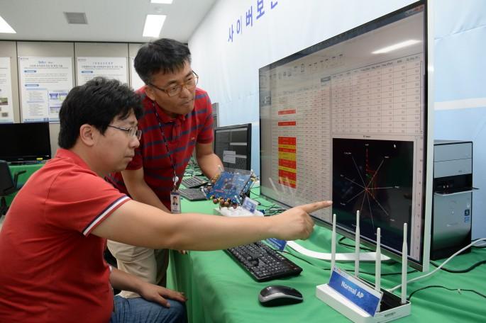 ETRI 연구진이 새롭개 개발한 불법복제 AP식별 기술을 시연해 보이고 있다. 화면상에서 보이는 무선 신호의 고유한 특성을 비교하면 주변 AP의 불법복제 여부를 판단할 수 있다. - 한국전자통신연구원 제공