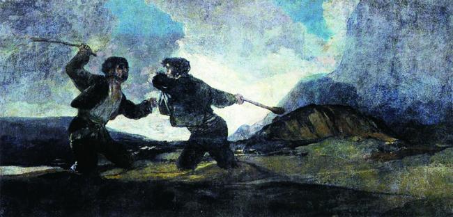 스페인의 화가 고야의 작품 <곤봉결투>. 16세기 수학자들은 마치 결투를 벌이듯 수학으로 상대방을 공격했습니다. - 프랜시스 고야(w) 제공