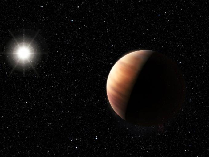 태양의 쌍둥이 별(왼쪽 빛나는 별)과 새로 발견한 목성 유사 천체를 표현한 상상도.  - ESO 제공