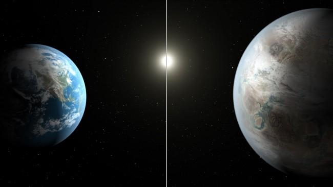 지구(왼쪽)와 케플러-452b의 모습을 그린 상상도. NASA가 23일 발견했다고 밝힌 행성 케플러-452b는 지름이 지구의 1.6배 공전주기는 385일로 그 특징과 환경이 지구와 유사해
