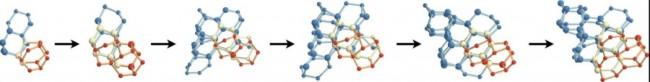 연구팀이 슈퍼컴퓨터를 통해 시뮬레이션한 얼음 생성 과정. 얼음은 큐브 형태(파란색)와 육각형 형태(빨간색)의 분자가 함께 결합된 상태다. - 프리스턴대 제공