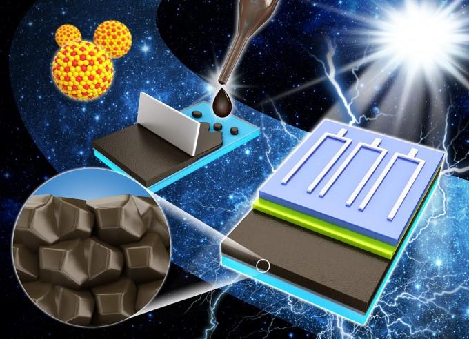 금속 나노결정에서 제조한 나노잉크를 발라 박막태양전지를 제조하는 과정을 표현한 그림.   - KIST 제공