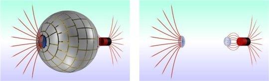 연구진이 개발한 자기 웜홀의 3차원 이미지. 오른쪽에서 들어온 자기력선(붉은 색)이 자기 웜홀을 통과해 왼쪽 출구로 나타나는 것을 볼 수 있다(왼쪽 사진). 웜홀은 자기적으로 감지되지 않기 때문에 자성체 입장에서는 자기장이 나타났다가 다른 곳에서 나타난 것처럼 생각된다(왼쪽 사진). - 스페인 바르셀로나 자치대 제공