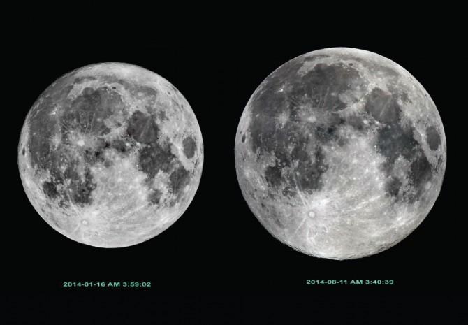 2014년에 떴던 가장 작은 달(왼쪽)과 큰 달(오른쪽). - 한국천문연구원 제공