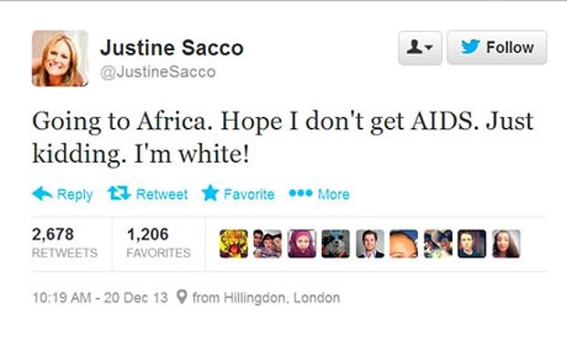 논란이 됐던 IAC 홍보담당자 Justine Sacco 트위터 - Justine Sacco 트위터 제공