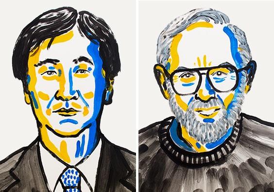 카지타 다카아키 교수, 아서 맥도날드 교수(왼쪽부터) - 노벨위원회 제공