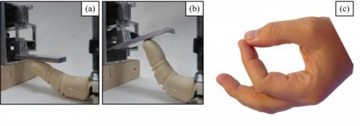 열이 가해지기 전에 곧게 펴져 있던 로봇 손가락이(a) 열을 받자 구부러지며 버튼을 움직인다(b). - 플로리다대 제공