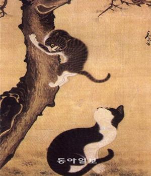 조선시대 화가 변상벽의 '묘작도(猫雀圖)'  - 동아일보  제공