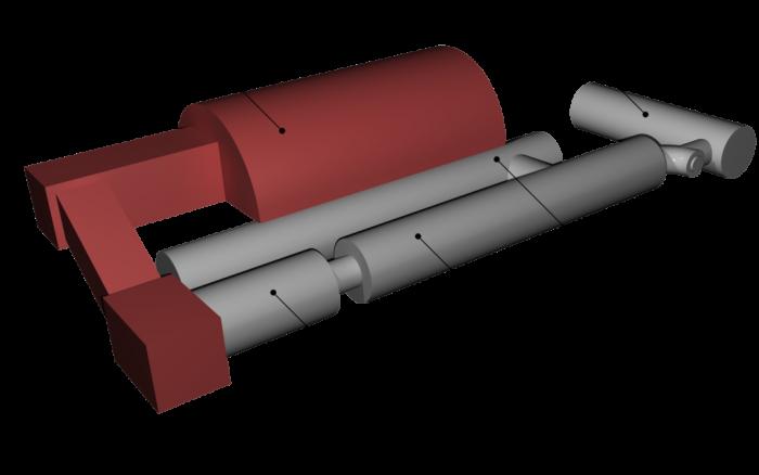 마스 500 미션의 모의 탐사체 구조. 모두 5개 모듈로 이뤄져 있는데 화성표면 모듈(빨간색)을 뺀 4개 모듈(회색)이 실제 탐사체다. 앞쪽 긴 원기둥이 주거모듈, 오른쪽 위 짧은 원기둥이 의료모듈, 가운데 긴 원기둥이 저장 모듈이다. 왼쪽 아래 짧은 원기둥은 화성이착륙기 모듈이다. - IBMP 제공