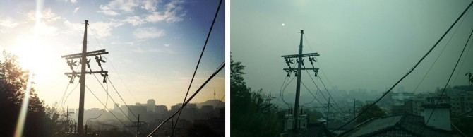 10월 15일 서울 하늘(왼쪽)과 미세먼지가 가득한 10월 20일 서울 하늘(오른쪽). 미세먼지가 자욱해 멀리 있는 건물이 안 보일 지경이다.  - 정진영 페이스북 제공