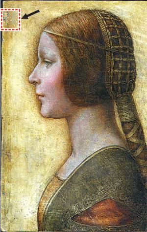 로또보다 대박이었던 다빈치의 지문(화살표 표시된 곳). 색연필과 펜, 잉크로 그려진 가로 23cm, 세로 33cm 크기의 '르네상스 시대 의상 차림의 젊은 여인'은 다빈치의 그림으로 판명됐다. - 동아일보 제공