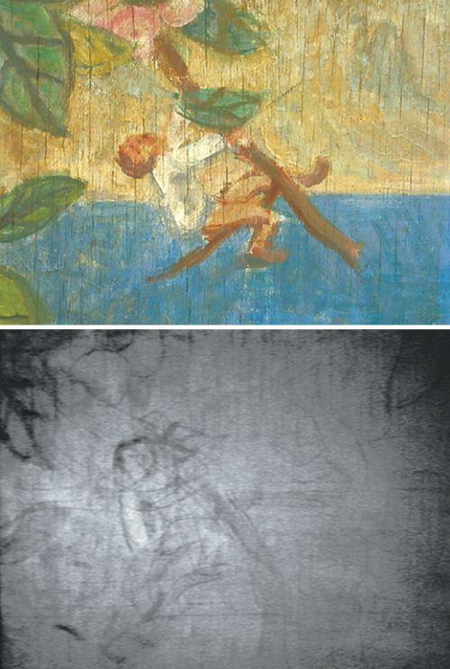 이중섭 화백의 '서귀포의 환상'. 완성된 그림(위)에는 아이가 머리를 젖힌 채 나무를 타고 놀고 있다. 하지만 본래 밑그림(아래)에는 아이가 앞을 보고 있는 형태로 그렸다. - 공주대 제공