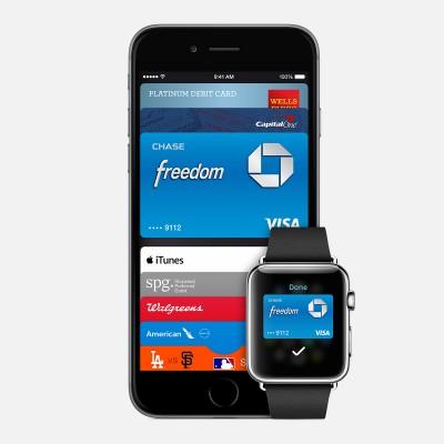 애플이 2014년 발표한 애플페이. 근거리전파결제(NFC)기능을 이용한다. - Apple 제공