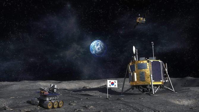 한국 달 탐사를 나타낸 상상도. 태극기 오른쪽으로 달에 착륙한 착륙선이 보이고 뒤쪽으로 작게 궤도선이 있다.  - 한국항공우주연구원 제공