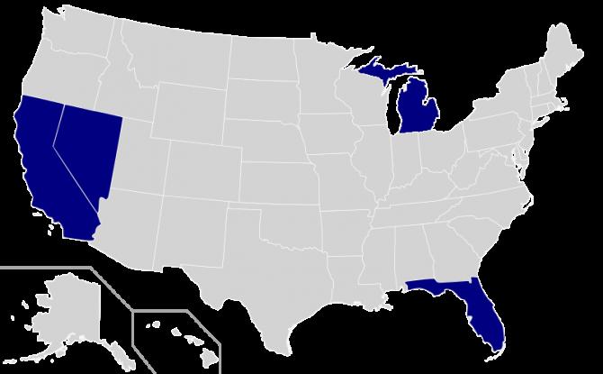 자율주행차 운행이 가능한 미국 5개 주. 네바다, 캘리포니아, 미시간, 워싱턴 등이 포함돼 있다. - 위키미디어 제공