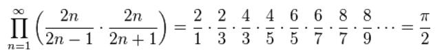 파이를 나타내는 월리스 곱. 앞의 기호(대문자 파이)는 무한곱을 나타낸다.  - 위키피디아 제공
