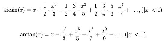 아크사인과 아크탄젠트는 무한급수 형식으로 나타낼 수 있다. x=1일 경우 위의 식은 π/2의 무한급수가 되고(뉴턴이 발견), 아래 식은 π/4의 무한급수가 된다(그레고리와 라이프니츠가 발견). - 위키피디아 제공