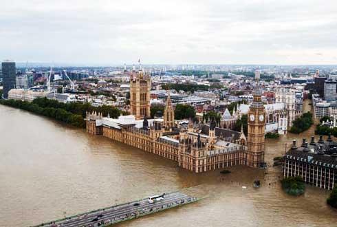 온도가 4도 오르면...물에 잠긴, 2100년 세계의 도시