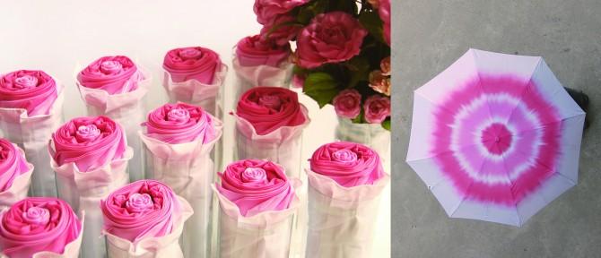 조희형 디자이너가 디자인한 로젤라 장미 우산. 비오는 날 빨간 우산을 들고 가는 여학생을 보고 영감을 얻었다.  - 알루이 제공