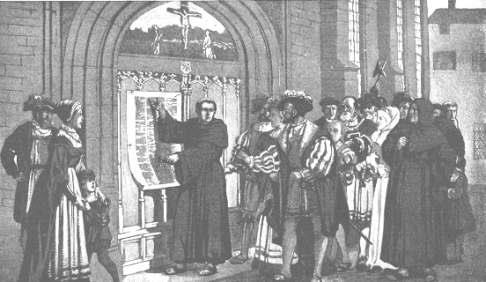 마틴 루터가 가톨릭 교회의 면죄부 판매에 반대하는 95개조 반박문을 붙이는 모습.  - saintmlc.com 제공