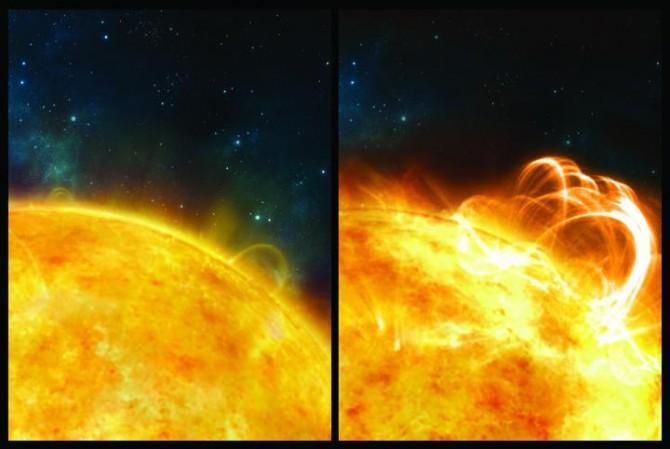 일반적인 태양 플레어(왼쪽)과 비교한 슈퍼플레어(오른쪽) 발생 예상도 - 영국 워릭대 제공