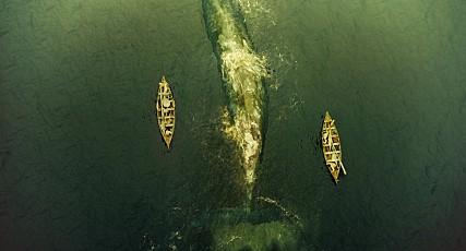 향유고래를 사냥하는 영화의 한 장면. 고래사냥은 불과 8미터 길이의 작은 보트 두 세척으로 고래를 잡는 위험한 작업이다. - 워너 브라더스 코리아(주) 제공
