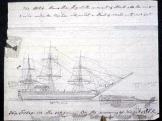 에식스호의 최연소 선원이었던 토머스 니커슨이 말년에 작성한 수기에 직접 그린 그림으로 거대한 향유고래(오른쪽)가 에식스호를 들이받는 장면을 묘사하고 있다. - 위키피디아 제공