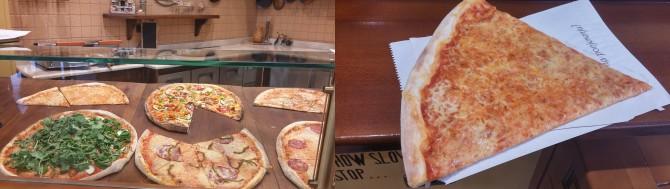 시로카 거리에 위치한 크로칸테(왼쪽)와 든든한 한 끼로도 충분한 피자 1조각!(오른쪽) - 고기은 제공