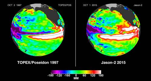 태평양 엘니뇨 감시구역의 해수면 온도를 보여주는 위성사진. 왼쪽은 1997년 10월 2일, 오른쪽은 이달 1일 모습. 해수 온도가 높을수록 붉은색이 진하게 나타나는데, 올해 해수면 온도는 강한 엘니뇨가 발생한 1997년 당시만큼 높다. - 미국항공우주국 제공