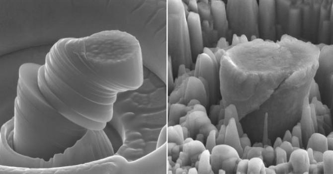 연구진은 순수 마그네슘(왼쪽 그림)에 세라믹 나노 입자를 첨가해 고강도 복합소재(오른쪽 그림)를 만드는 데 성공했다. - 로스앤젤레스 캘리포니아대 제공