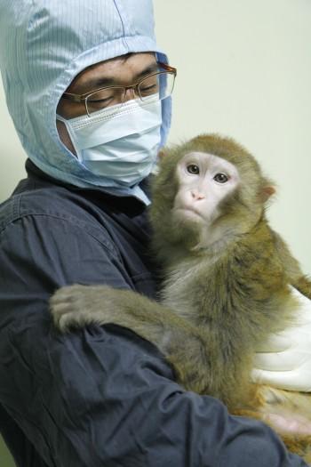 국가영장류센터의 한 사육사가 붉은원숭이를 안고 있다.  - 국가영장류센터 제공