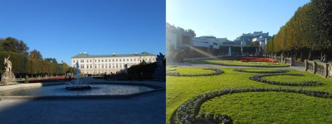 미라벨 궁전&정원의 평온한 아침 풍경(왼쪽)과 계절마다의 아름다움이 있는 미라벨 정원(오른쪽) - 고기은 제공