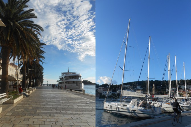 흐바르 선착장(왼쪽)과 선착장에 정박해 있는 요트들. 흐바르는 휴양지로도 유명한 섬이다.  - 고기은 제공