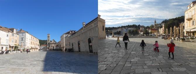 성 스테판 광장(왼쪽)에서 뛰노는 아이들(오른쪽).  - 고기은 제공