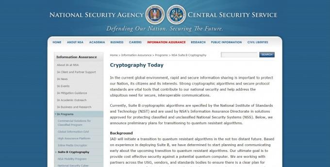 미국 국가안보국(NSA)은 향후 정부 기밀 문서 암호화에 사용하는 암호 표준을 새로 정할 계획이라고 2015년 8월 19일 발효했다. - NSA 홈페이지 캡쳐 제공