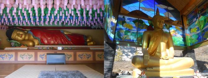마음을 편안하게 해주는 와불상(왼쪽)과 태국 사찰에 온 느낌을 주는 금동불상(오른쪽) - 고기은 제공