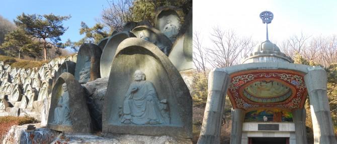 오백나한상(왼쪽)과 석가모니불 고행상이 모셔져 있는 대각전(오른쪽) - 고기은 제공