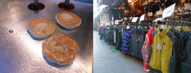 천원 한 장으로 배부를 수 있는 시장 호떡(왼쪽)과 만원 한 장으로 따뜻해질 수 있는 시장 거리 모습(오른쪽) - 고기은 제공