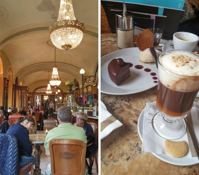 150년 전통을 자랑하는 카페 제르보의 내부 전경(왼쪽). 여행 중 디저트가 제일 맛있었던 곳이다!(오른쪽) - 고기은 제공