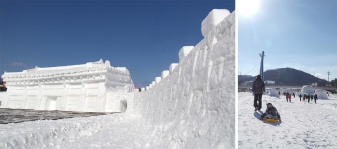 눈으로 만든 덕수궁 중화전 앞에서는 1월 22일부터 24일까지 '2016 평창겨울연희축전'이 펼쳐진다(왼쪽). 엄마가 끌어주는 얼음썰매를 타는 아이 모습(오른쪽). - 고기은 제공