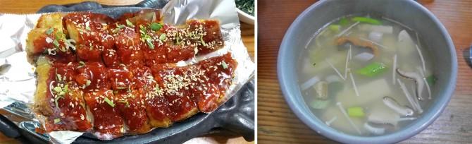 매콤하고 부드러운 황태구이(왼쪽), 얼었던 몸을 녹이는 한 그릇! 황태해장국(오른쪽) - 고기은 제공