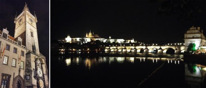 밤에 더 멋스러운 천문시계탑(왼쪽), 로맨틱 도시임을 느끼게하는 프라하 야경(오른쪽) - 고기은 제공