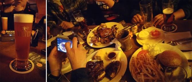 유럽 여행 중 가장 맛있었던 체코 벨벳 맥주(왼쪽), 인기 메뉴인 립과 수제버거로 풍요로운 저녁 식사(오른쪽). - 고기은 제공