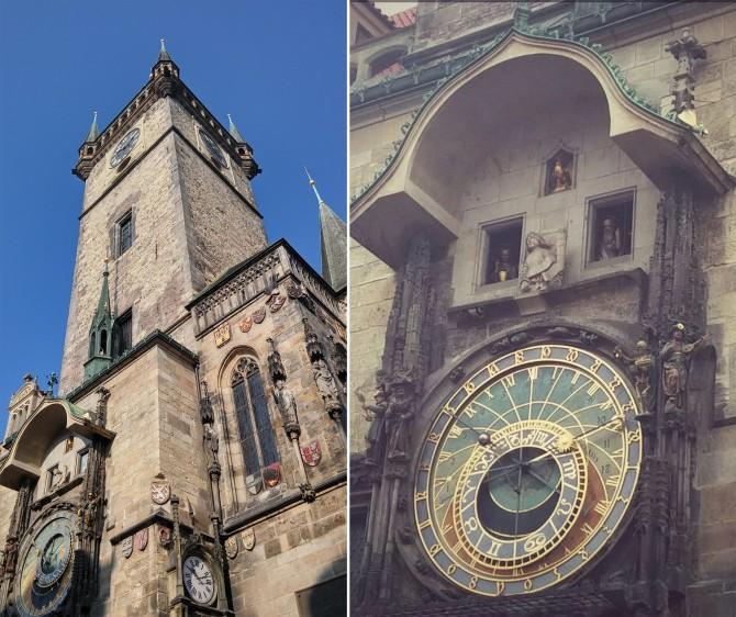 프라하의 랜드마크, 천문시계탑(왼쪽), 짧지만 강렬한 여운을 주는 천문시계 퍼포먼스(오른쪽) - 고기은 제공
