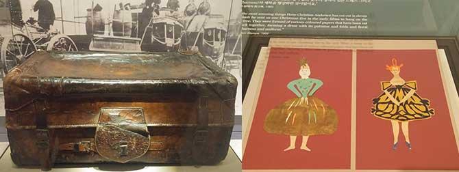 안데르센이 '코끼리'라고 불렀던 여행가방(왼쪽)과 안데르센 종이공작 작품(오른쪽) - 고기은 제공