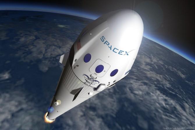 대표적인 민간 우주 개발 기업인 미국 'Space X'의 로켓 발사 상상도. - Space X 제공