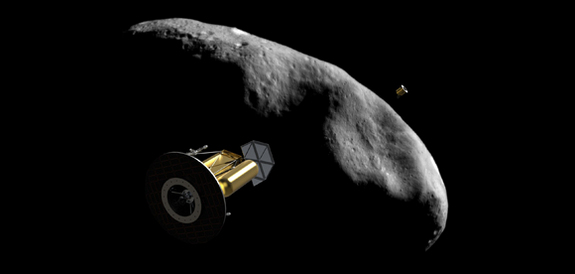 광물 채취 위성이 소행성을 향해 날아가는 모습의 상상도. - NASA 제공
