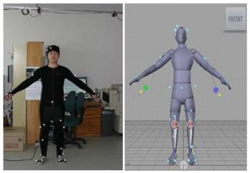 신체 여러 분위에 마커를 붙인 후 관찰하면 그 움직임이 컴퓨터 시뮬레이션으로 기록된다. - 대한기계학회 제공