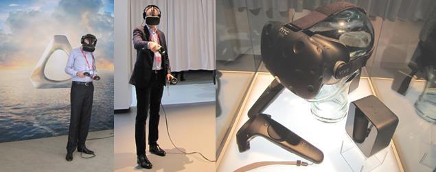MWC 2016 전시장에서 VR 기기 체험 중인 관람객. - 바르셀로나=김규태 기자 제공